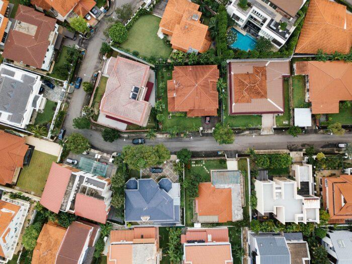 Birdseye view of housing estate